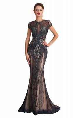 Cap Sleeves Keyhole Jewel Gorgeous Beaded Long Prom Dresses | Elegant Long Evening Dresses_1