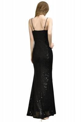 Black Spaghetti Strap V Neck Sequined Front Slit Floor Length Sheath Prom Dresses | Backless Evening Gown_25