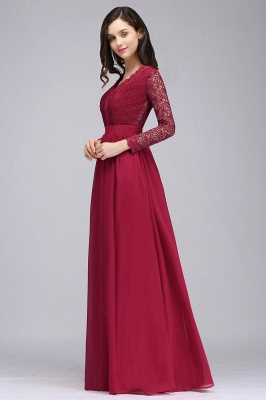 Elegant A-line Chiffon Lace Long Sleeves Evening Dress On Sale_6