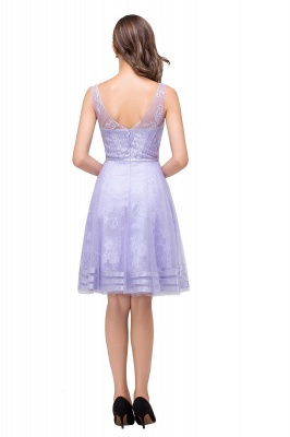 2019 Lavender Short Lace A-Line Sleeveless Mini Homecoming Dress_7