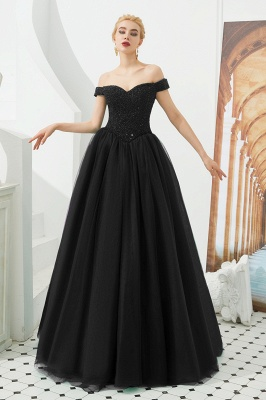 Off the Shoulder Sweetheart Jade A-line Long Prom Dresses | Elegant Evening Dresses Cheap_18