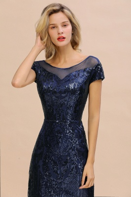Bateau Short Sleeves Long Sequins Prom Dresses   Floor Length Fitted Evening Dresses_5