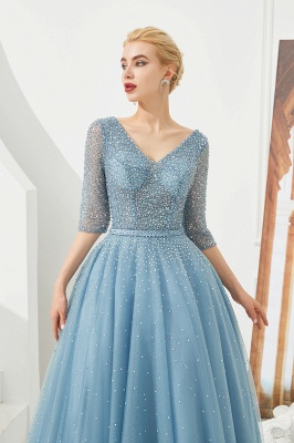 Gorgeous Half Sleeves V-neck A-line Floor Length Prom Dresses | Long Tulle Evening Dresses_5