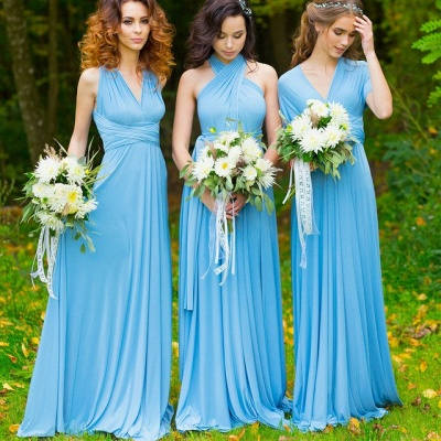 Convertible Blue Long Bridesmaid Dresses | Sexy Maid of Honor Dresses_2