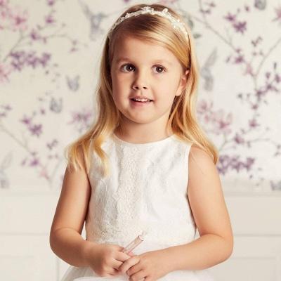 Jewel Sleeveless Ribbon Belt Lace Tulle Long Flower Girl Dresses_4