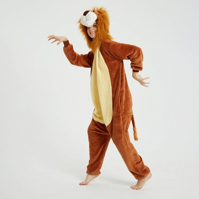 Cute Animal Pyjamas for Women Lion Onesies, Brown_17