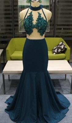 High Neck Sheer Sweep Train Sleeveless Zipper Sexy Mermaid Prom Dresses_2