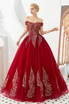 Glamorous Off the Shoulder Sweetheart Applique A-line Floor Length Prom Dresses_7