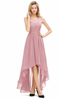 Jewel Sleeveless Hi-Lo Lace Chiffon Bridesmaid Dresses | Simple Wedding Guest Dresses_2