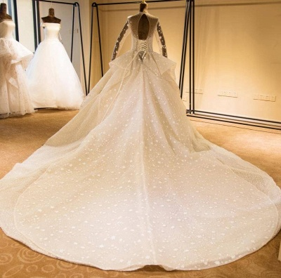 Stunning Long Sleeve Beading Lace-up Tulle Wedding Dress | Haute Couture Bridal Gowns Series_3