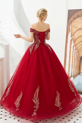 Glamorous Off the Shoulder Sweetheart Applique A-line Floor Length Prom Dresses_9