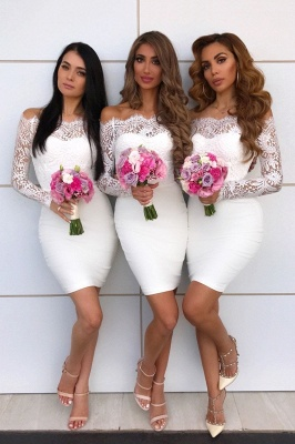 Knee Length Off the Shoulder Long Sleeves Lace Sexy Mermaid Bridesmaid Dresses  | Affordable Maid of Honor Dresses_1