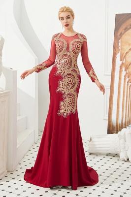 Gorgeous Form-fitting Long Sleeves Floor Length Prom Dresses | Long Beaded Evening Dresses_4