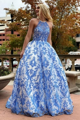 Chic Floor Length Jewel Sleeveless Cut-Outs Ball Gown Lace Prom Dresses_1