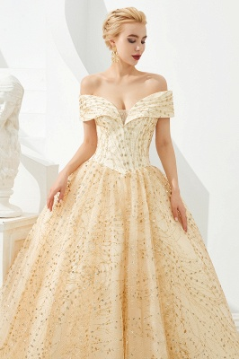 Off the Shoulder A-line Long Lace Beaded Prom Dresses    Floor Length Evening Dresses_8