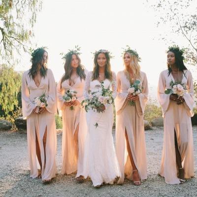Boho Style V-neck Long Sleeves Front Slit Floor Length Sexy Bridesmaid Dresses_2