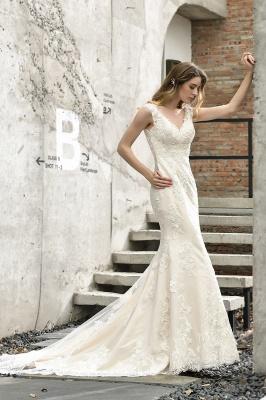 Glamorous Floor Length Open Back Mermaid Lace Wedding Dresses_4