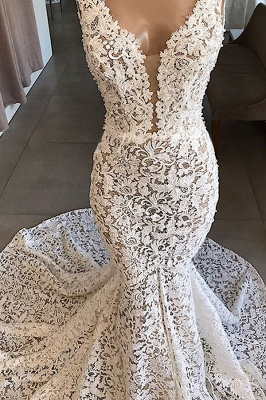 Straps V-neck Mermaid Lace Wedding Dresses | Fit and Flare Bridal Gowns_4