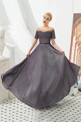 Glamorous Round Neckline Short Sleeves Beaded Belt A-line Floor Length Prom Dresses_7