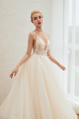 Gorgeous Spaghetti Straps V-neck Floor Length A-line Lace Tulle Wedding Dresses_16