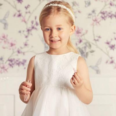 Jewel Sleeveless Lace Tulle Long Flower Girl Dresses   Dress for Flower Girls_3