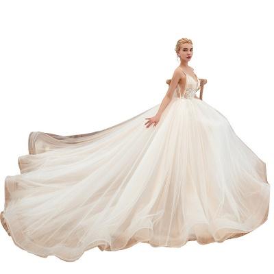 Gorgeous Spaghetti Straps V-neck Floor Length A-line Lace Tulle Wedding Dresses_21