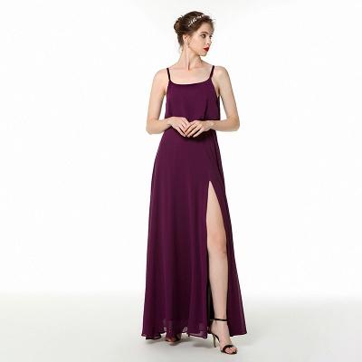 Spaghetti Straps Front Slit Long Chiffon Prom Dresses | Floor Length Evening Dresses Online_4