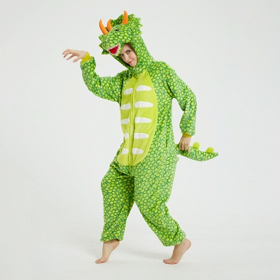 Cute Animal Pyjamas for Women Triceratops Onesie, Green_10
