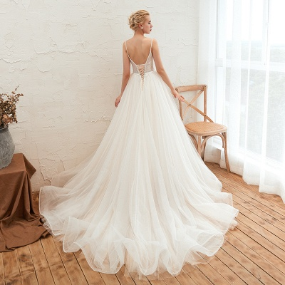 Elegant Spaghetti Straps Lace Up A-line Floor Length Lace Tulle Wedding Dresses_23
