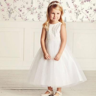 Jewel Sleeveless Ribbon Belt Lace Tulle Long Flower Girl Dresses_5