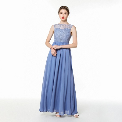 Bateau Sleeveless Floor Length Lace Chiffon Prom Dresses | Long Evening Dresses_1