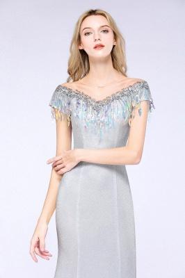 Elegant Jewel Short Sleeves Sequins Evening Dress with Tassels On Sale_6