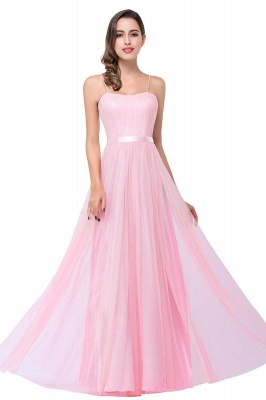 A-line Sweetheart Floor-length Pink Tulle Ruffles Cheap Bridesmaid Dresses_1