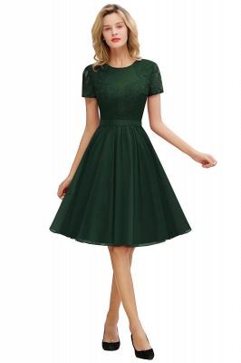 Jewel Kee Length Short Sleeves Lace Bridesmaid Dresses | Burgundy Wedding Gues Dresses_2