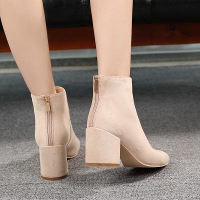 Black Apricot Short Boots Women's Winter Thick Heel_5