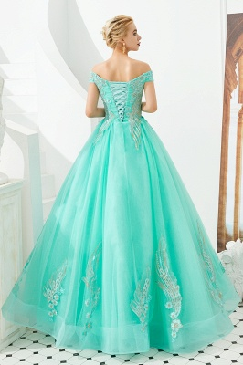 Glamorous Off the Shoulder Sweetheart Applique A-line Floor Length Prom Dresses_20