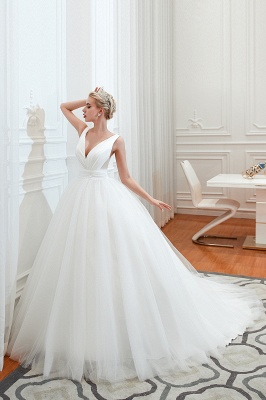 Elegant Floor Length V-neck Straps Belted A-line Tulle Wedding Dresses_1