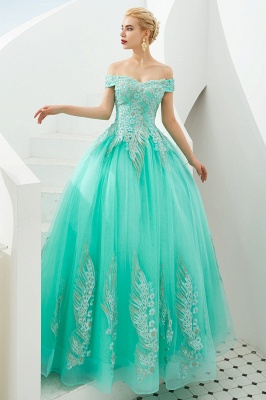 Glamorous Off the Shoulder Sweetheart Applique A-line Floor Length Prom Dresses_11