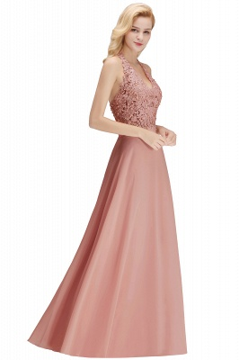 Cheap A-line Halter Chiffon Lace Bridesmaid Dress with Beadings in Stock_26