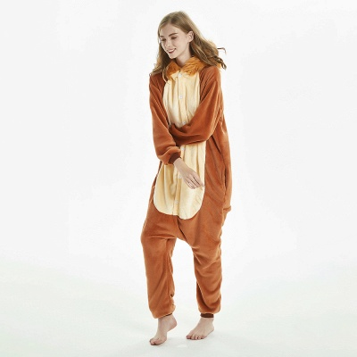 Super Soft Adult Lion Brown Onesies Pajamas for Girls_9