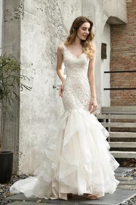 Cheap Floor Length Mermiad Sweetheart Lace Wedding Dresses_2