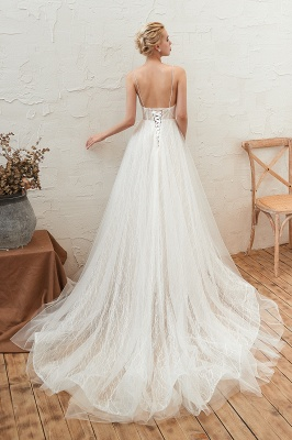 Gorgeous Spaghetti Straps Sweep Train V-neck Lace-Up Lace Wedding Dresses_2