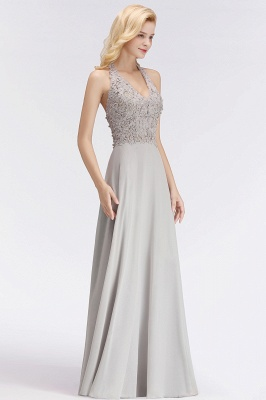 Cheap A-line Halter Chiffon Lace Bridesmaid Dress with Beadings in Stock_9