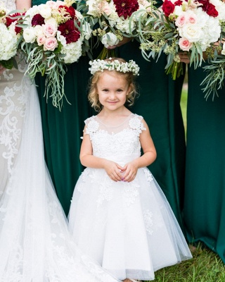 Elegant Jewel Sleeveless Lace Applique Flower Girl Dresses | Wedding Dress for Girls_2