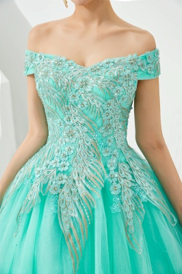 Glamorous Off the Shoulder Sweetheart Applique A-line Floor Length Prom Dresses_17