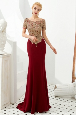 Bateau Short Sleeves Applique Fitted Long Prom Dresses | Burgundy Evening Dresses_8