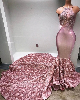 Pink Beaded Luxury Rose-Flowers Mermaid 3D Prom Dress_1