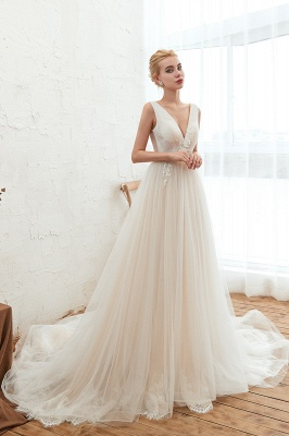 Gorgeous V-neck Straps A-line Floor Length Lace Tulle Wedding Dresses_5