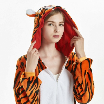 Lovely Adult Tiger Onesies Pajamas for Women_16
