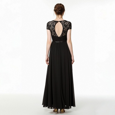 Jewel Short Sleeves Belted Floor Length Lace Chiffon Prom Dresses_5